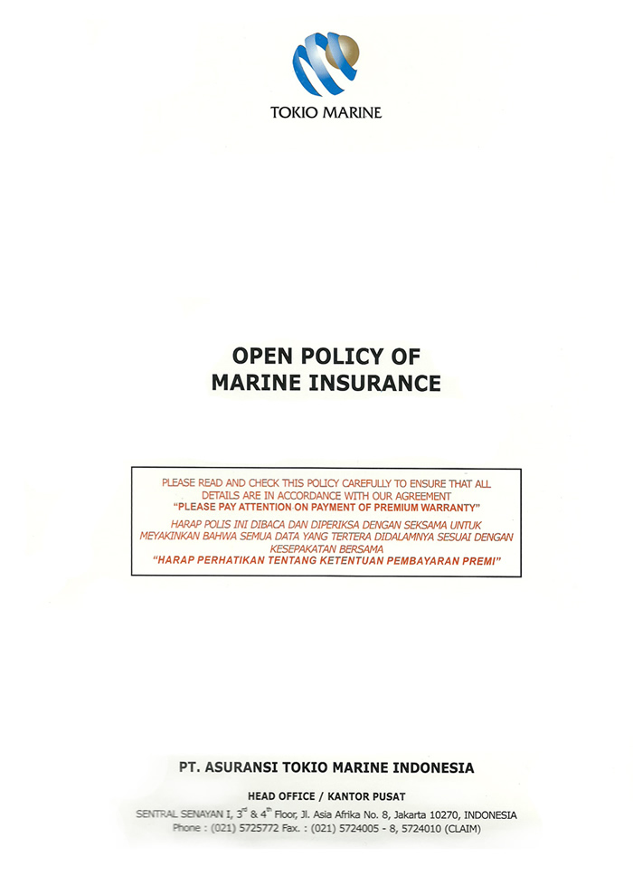Open Policy of Marine Cargo Insurance